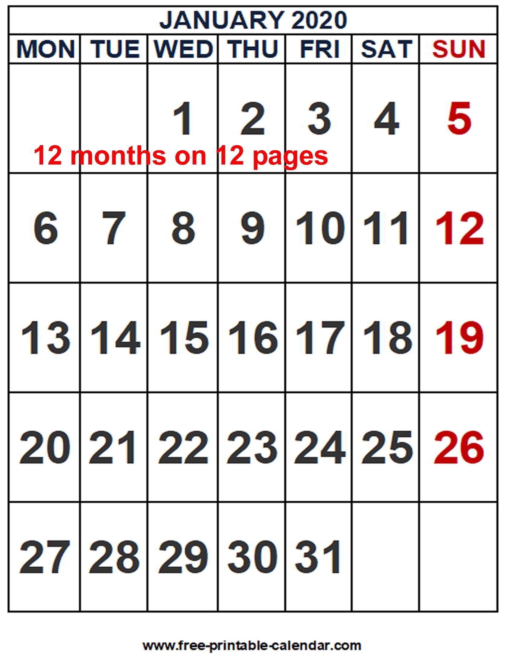 2020 Calendar Word Template - Free-Printable-Calendar