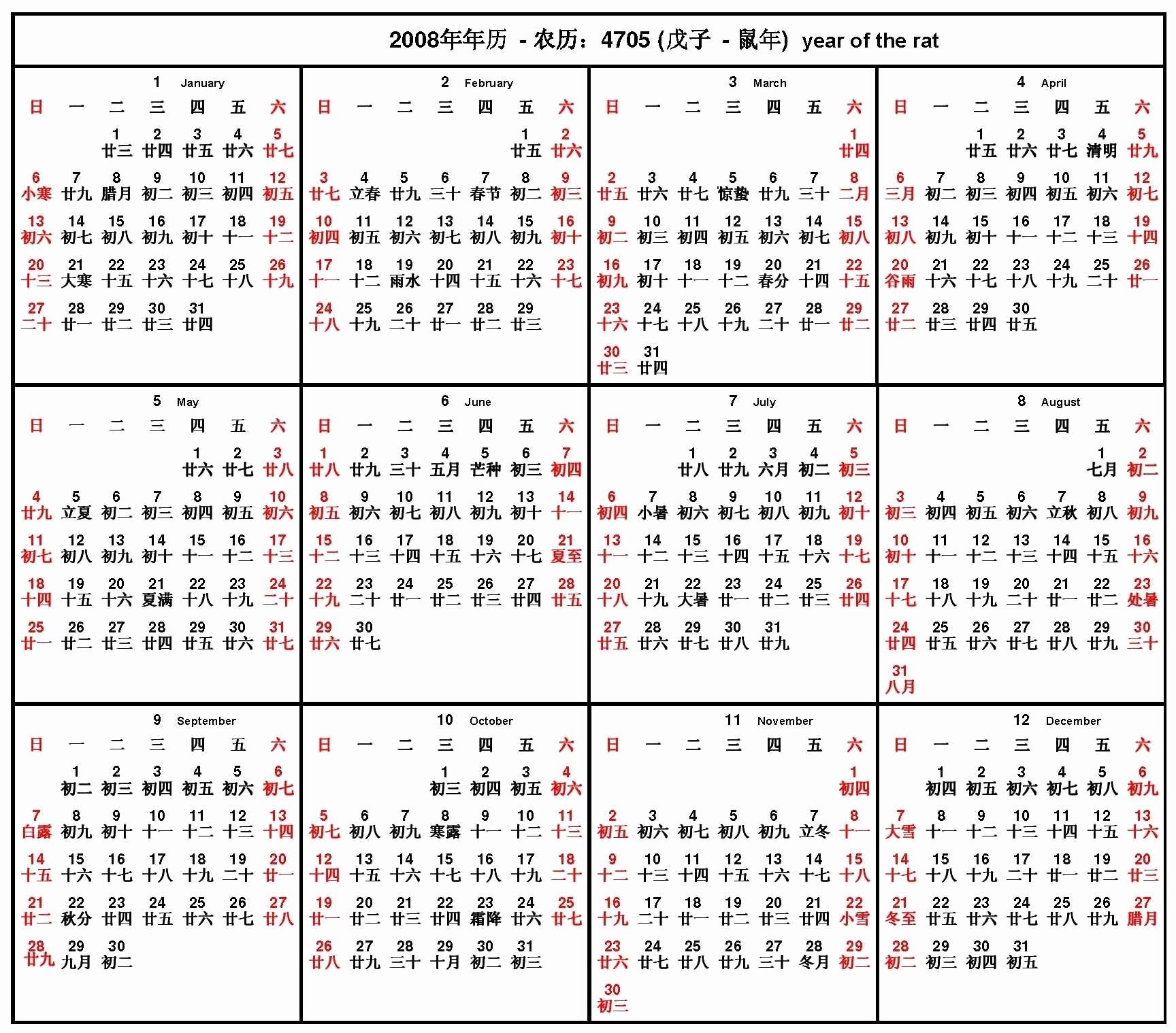 2020 Chinese Calendar. Chinese Horoscope 2020. 2019-10-21
