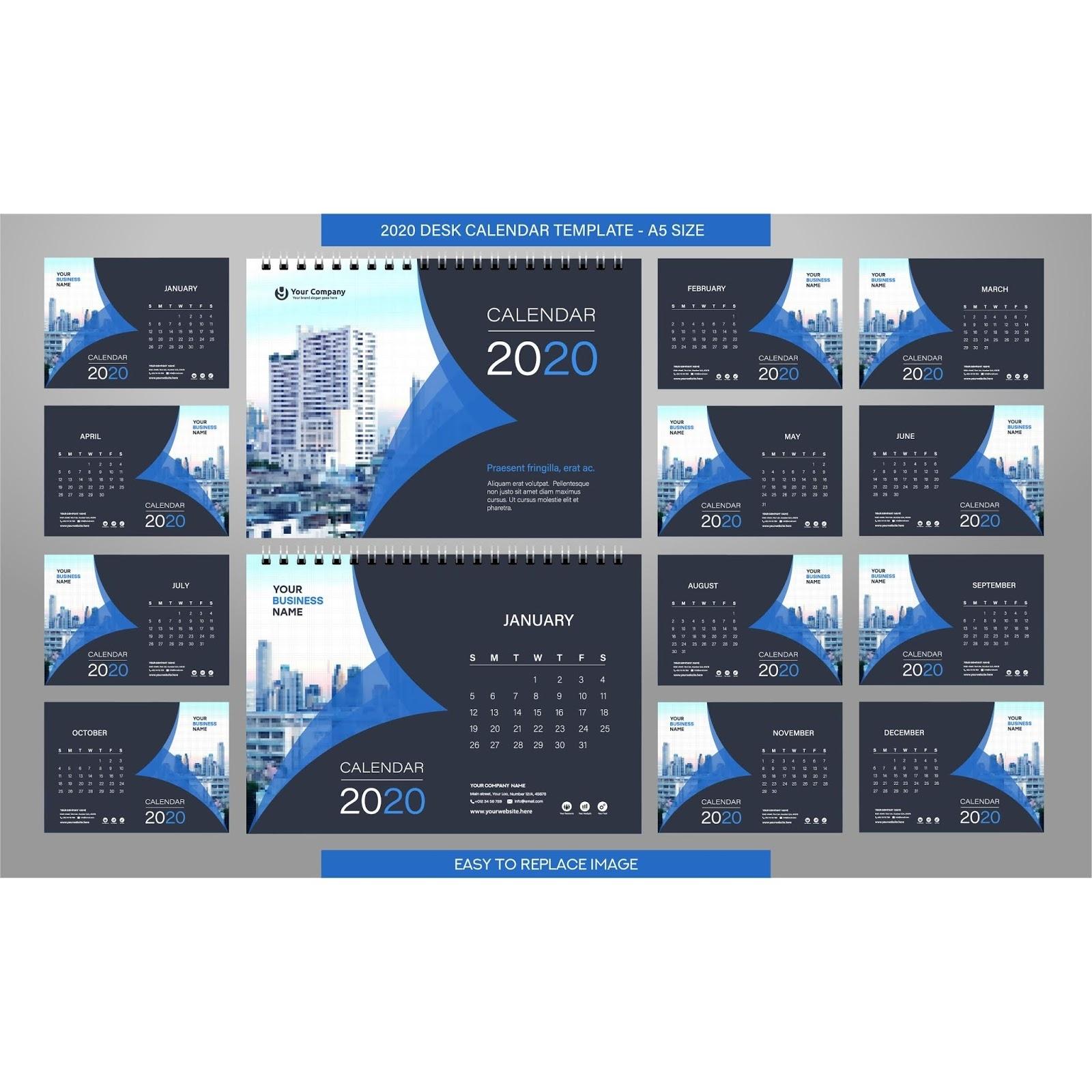 2020 Desk Calendar Template Download A 2020 Calendar Free