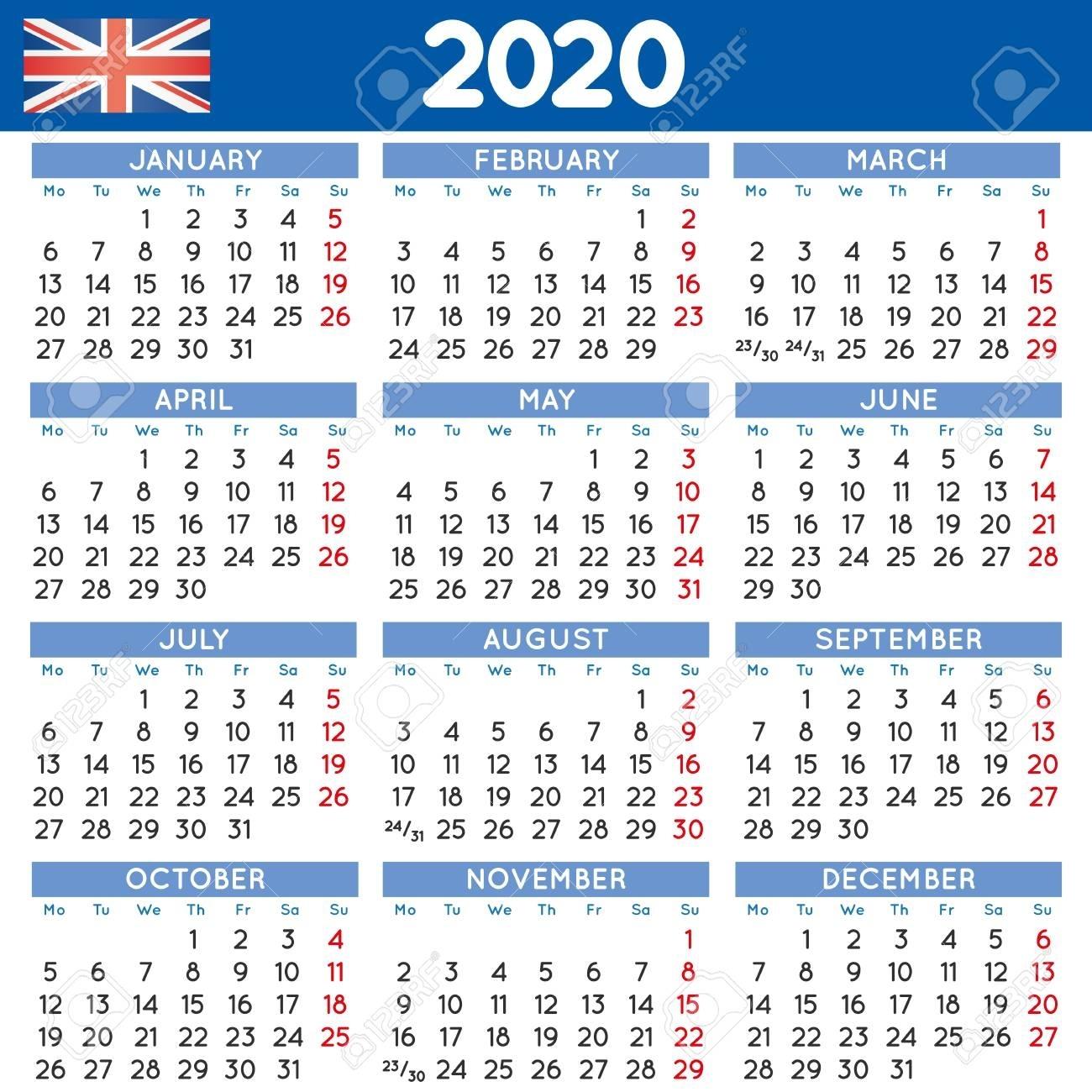 2020 Elegant Squared Calendar English Uk. Year 2020 Calendar