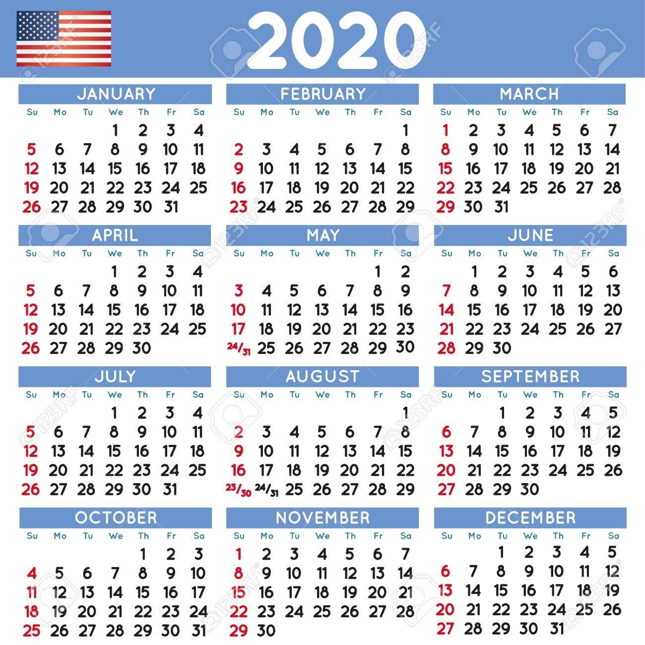 2020 Elegant Squared Calendar English Usa. Year 2020 Calendar
