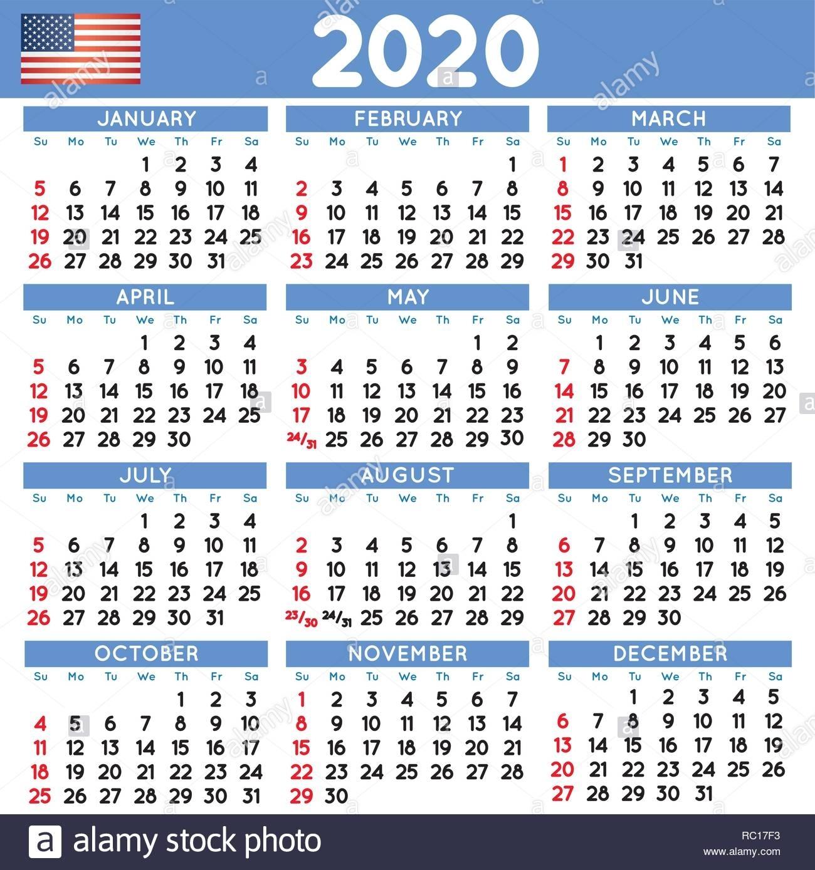 2020 Elegant Squared Calendar English Usa. Year 2020
