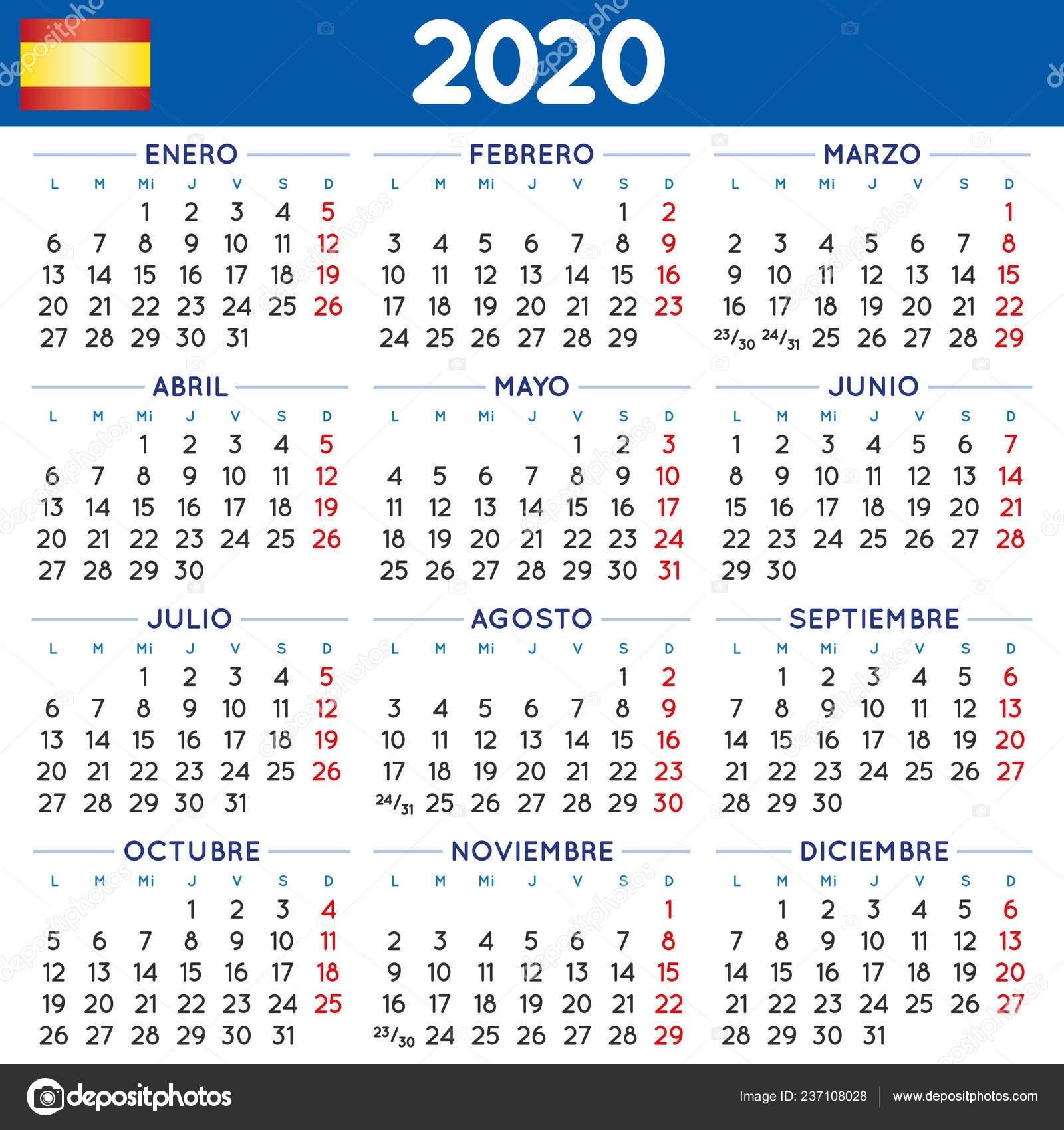 2020 Elegant Squared Calendar Spanish Year 2020 Calendar