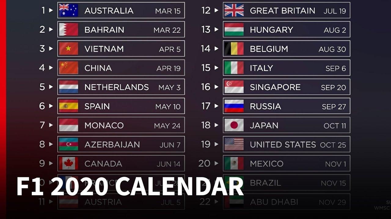 2020 F1 Calendar - What's New? - Splatvidz