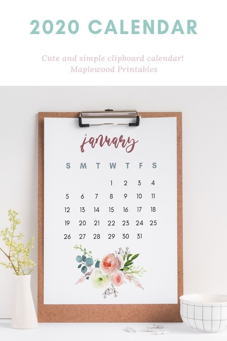 2020 Floral Calendar, Clipboard Calendar, Us Letter Size