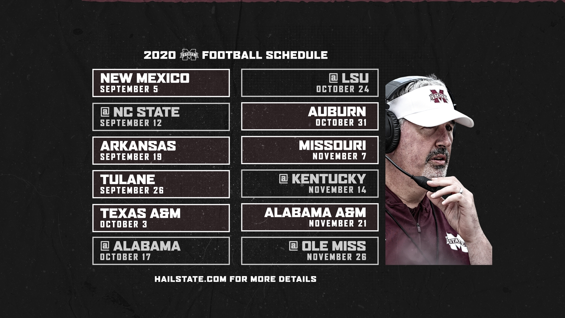 2020 Football Schedule Announced - Mississippi State