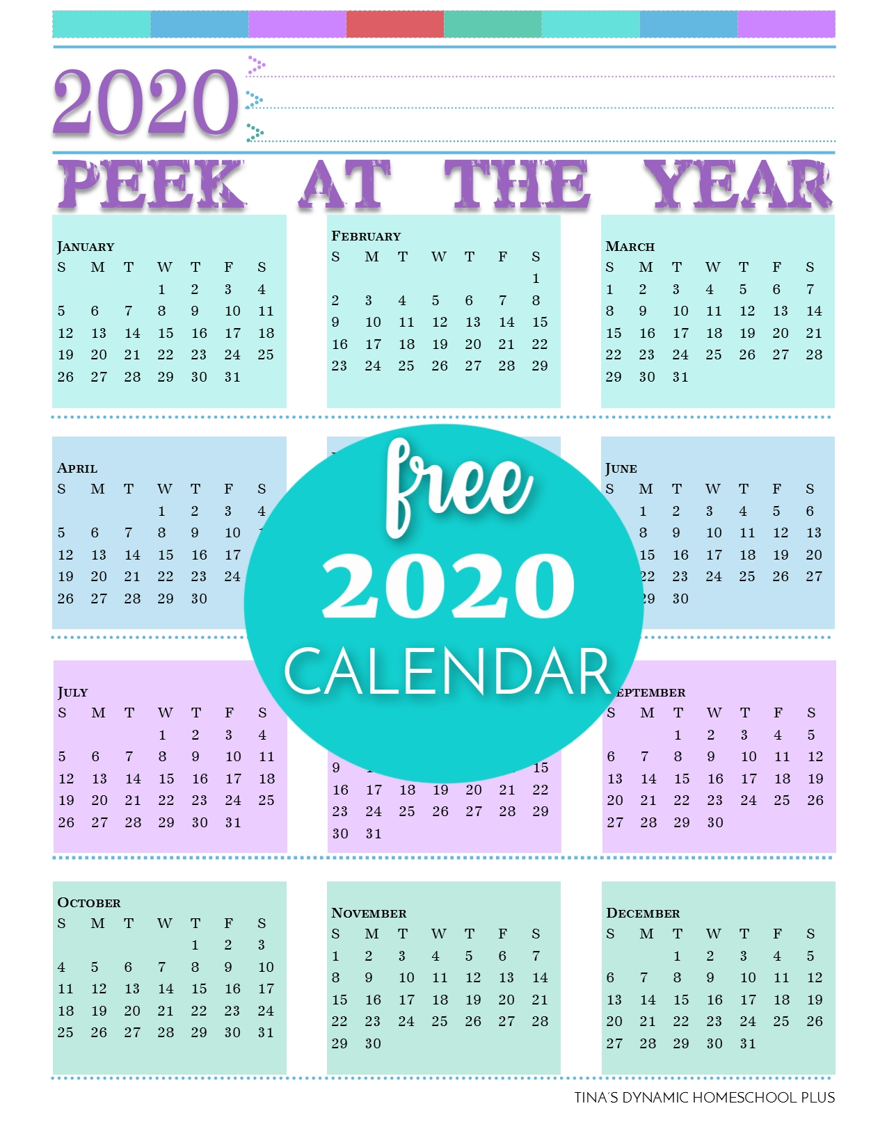 2020 Free Calendar (Add To Your Printable Homeschool Planner