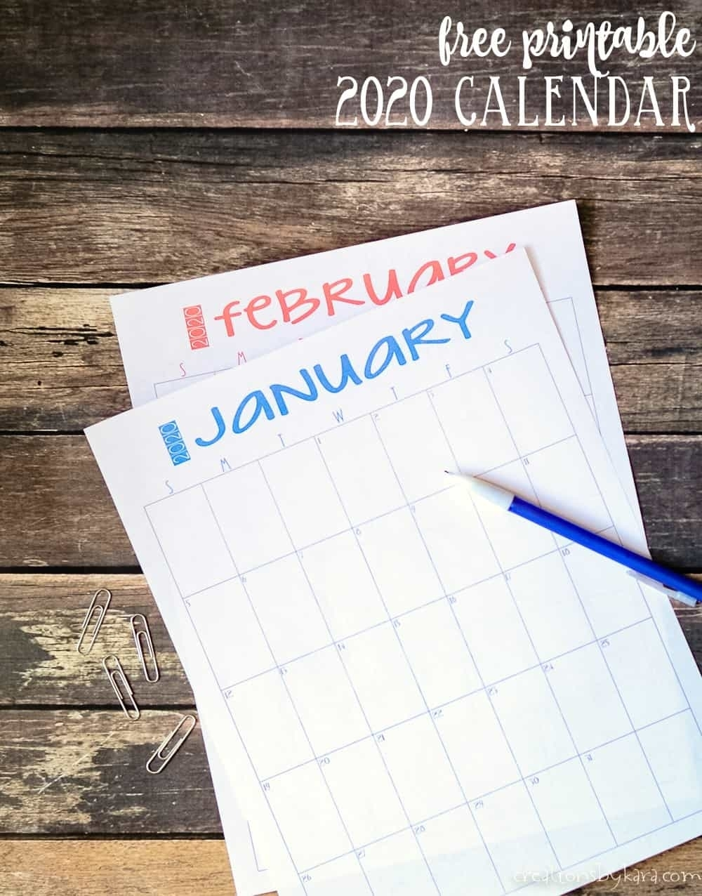 2020 Free Printable Calendar - Creationskara