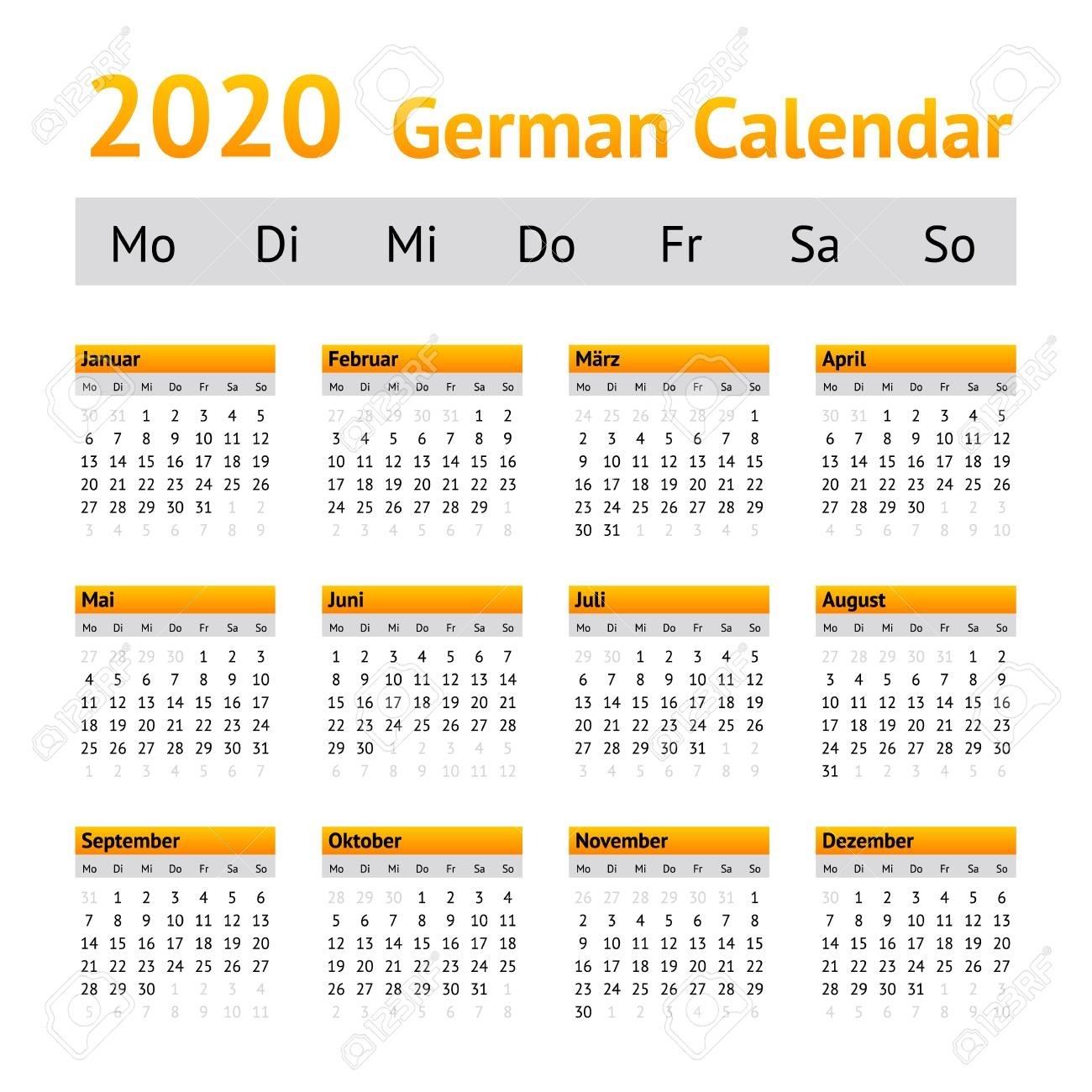 2020 German Calendar. Week Starting On Monday