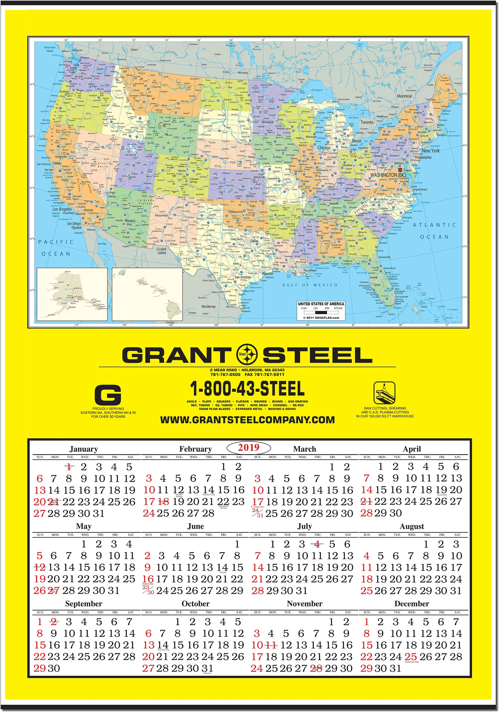 2020 Jumbo United States Map Wall Calendar
