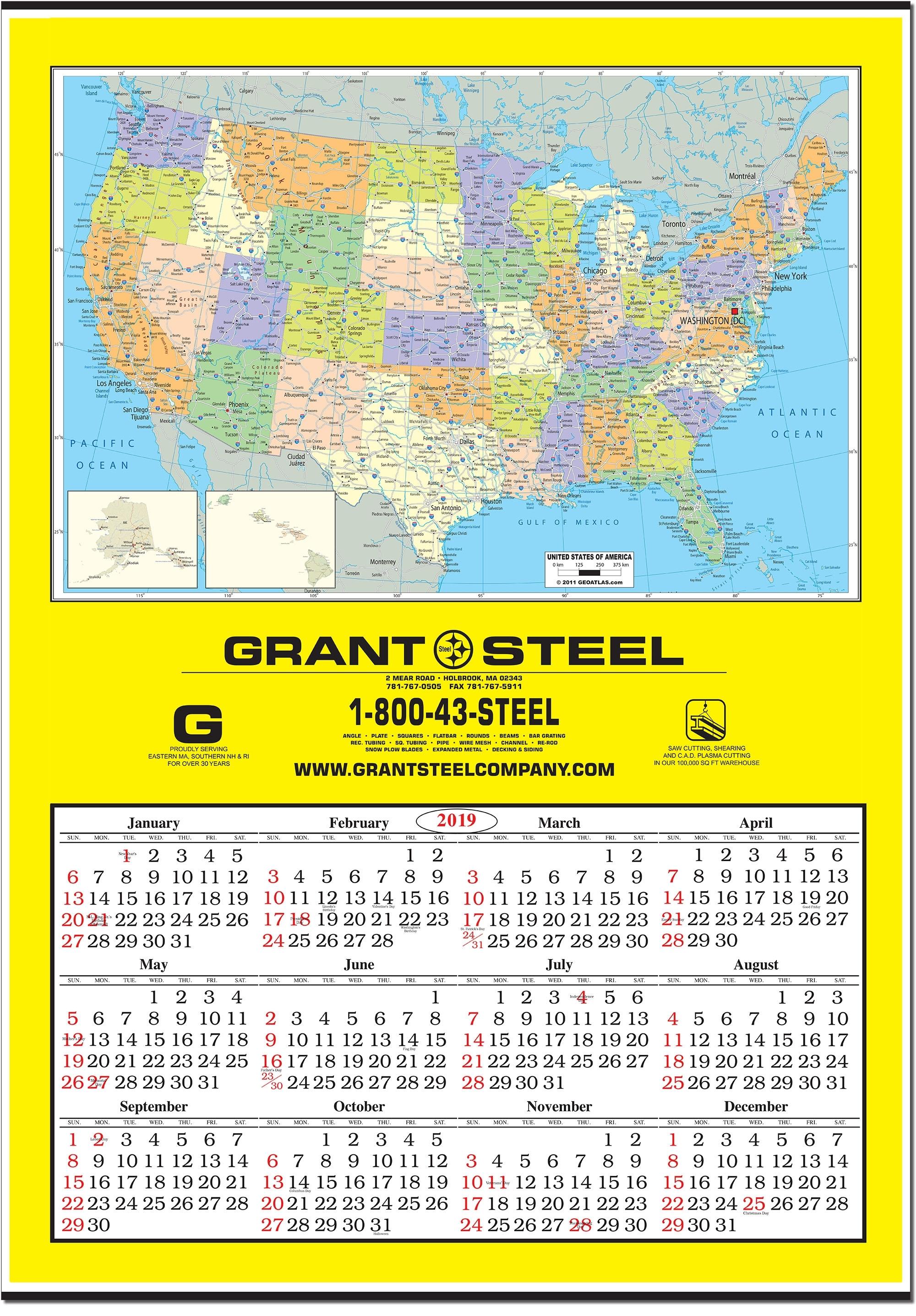 2020 Jumbo United States Map Wall Calendar