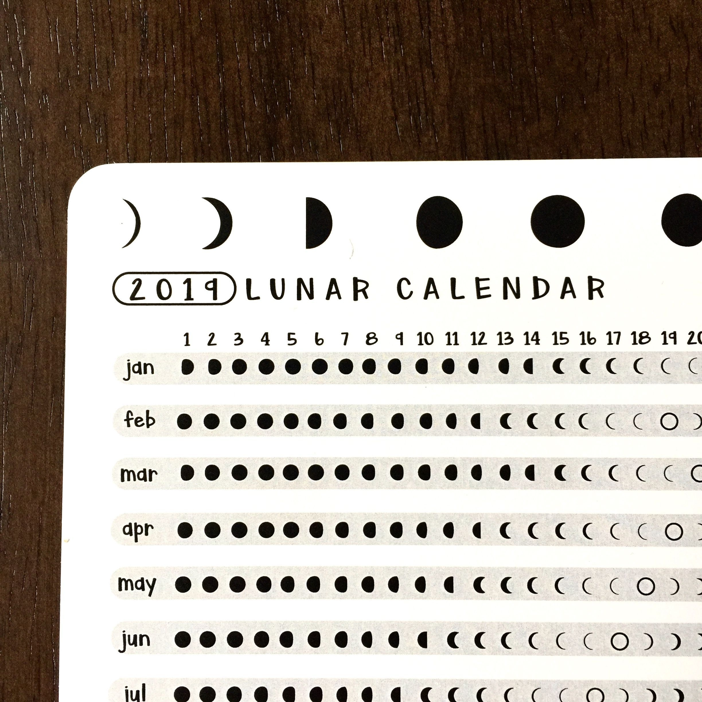 2020 Lunar Calendar Astrology Card | Bullet Journal Gifts