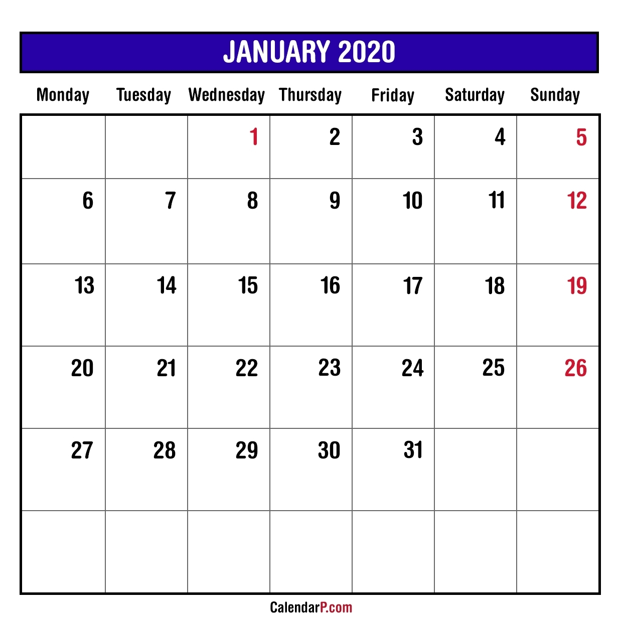 2020 Monthly Planner Printable Free – Monday Start, Blue
