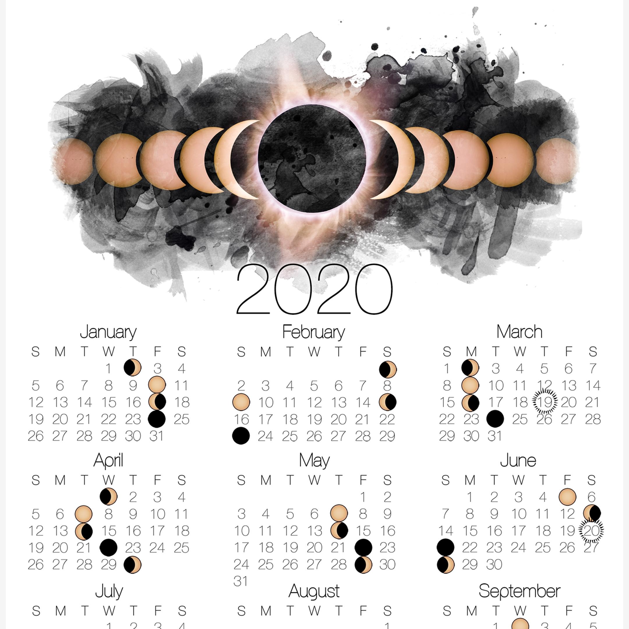 2020 Moon Phase Calendar - Lunar Calendar With Solar Eclipse