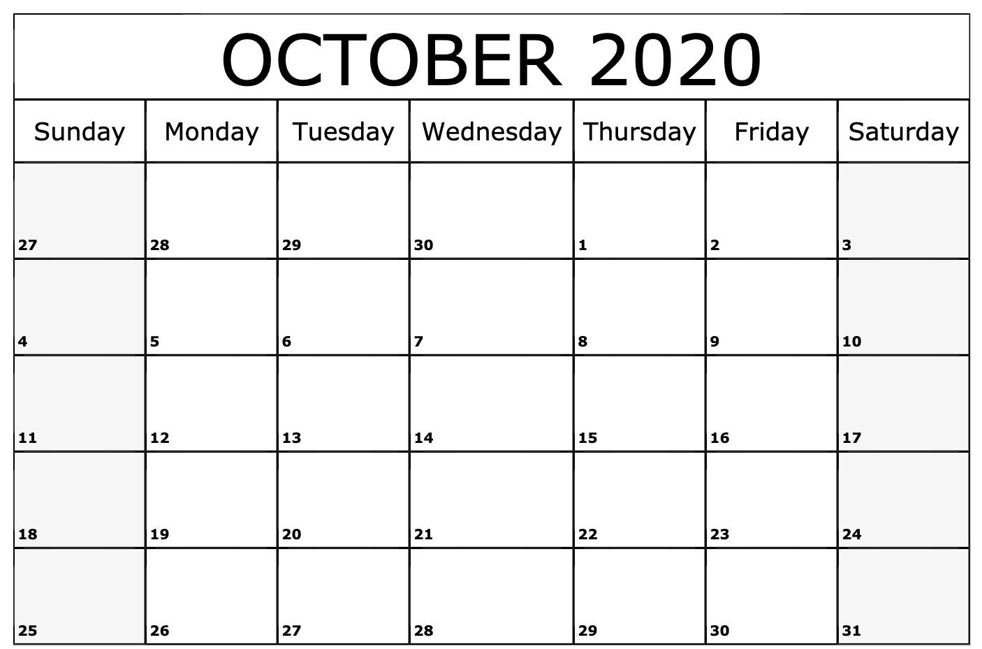 2020 October Calendar | Monthly Calendar Template, Printable