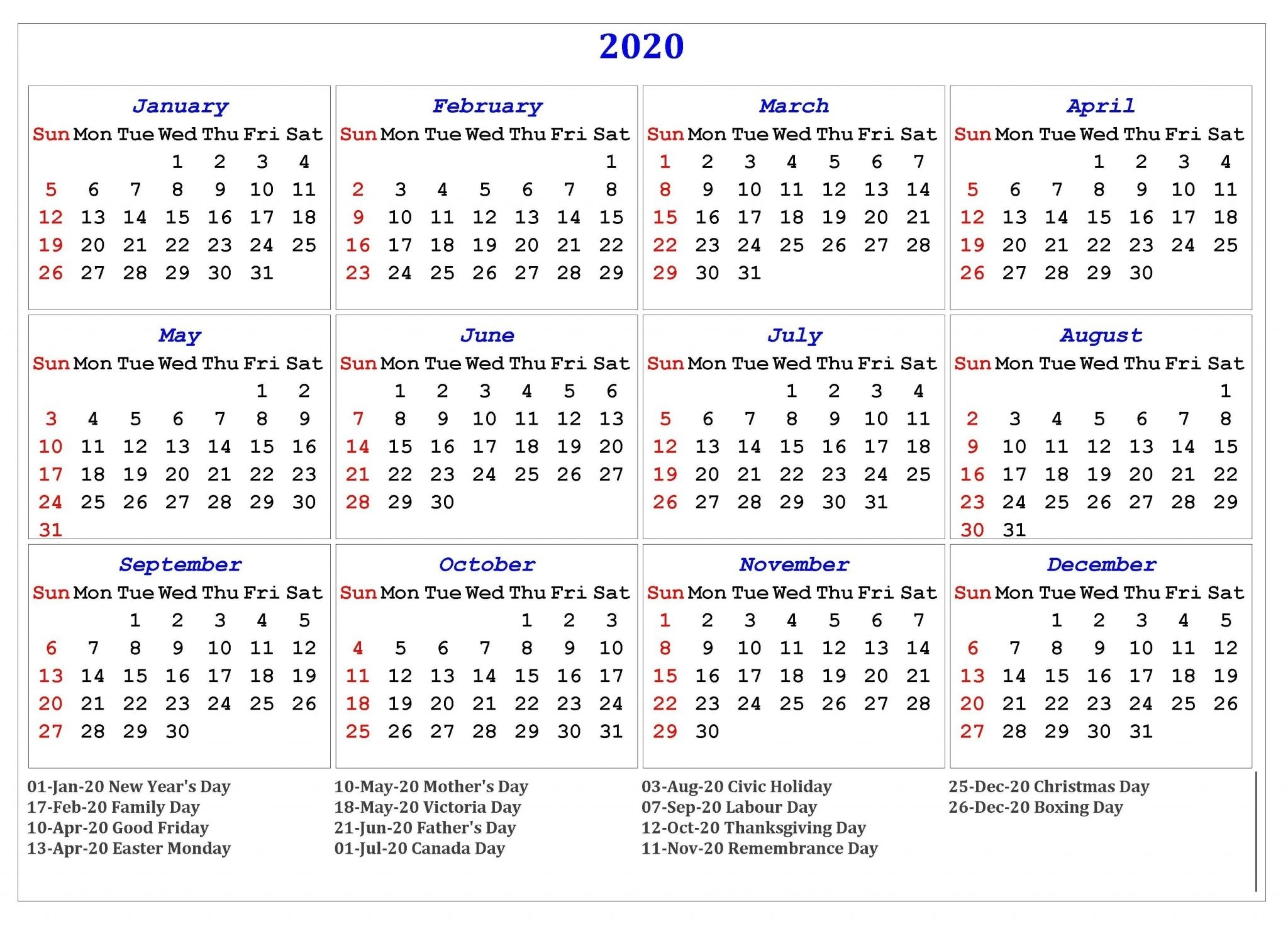 2020 One Page Holidays Calendar - Free Printable Calendar