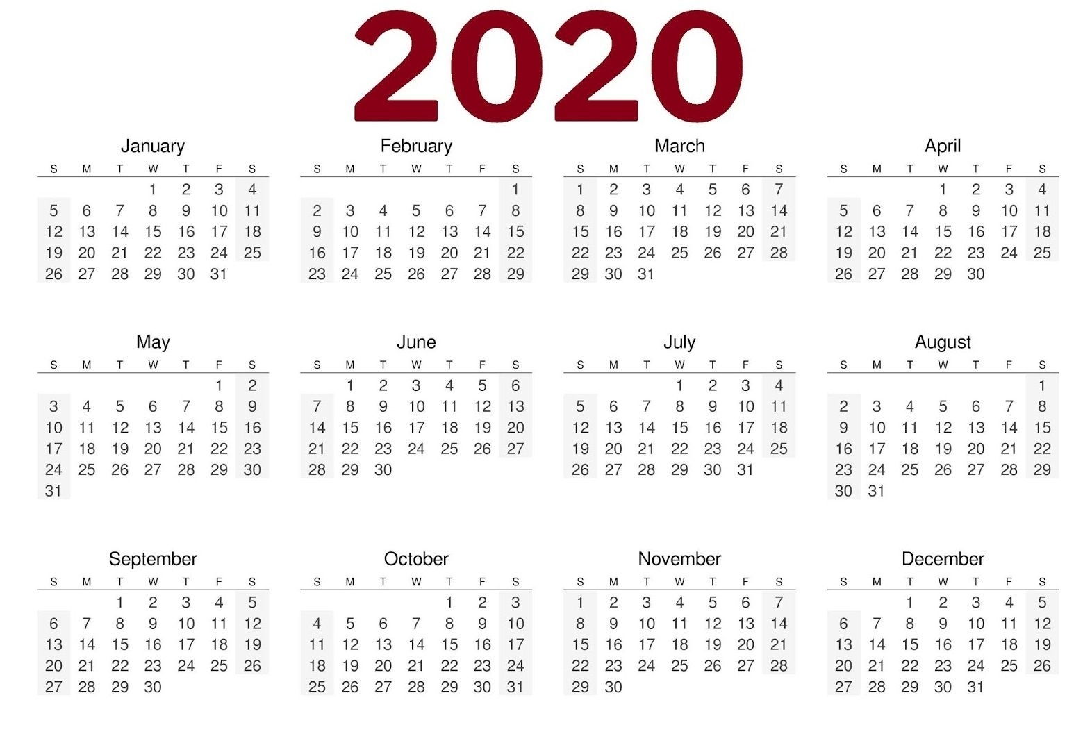 2020 One Page Landscape Calendar | 2020 Calendars | 2019
