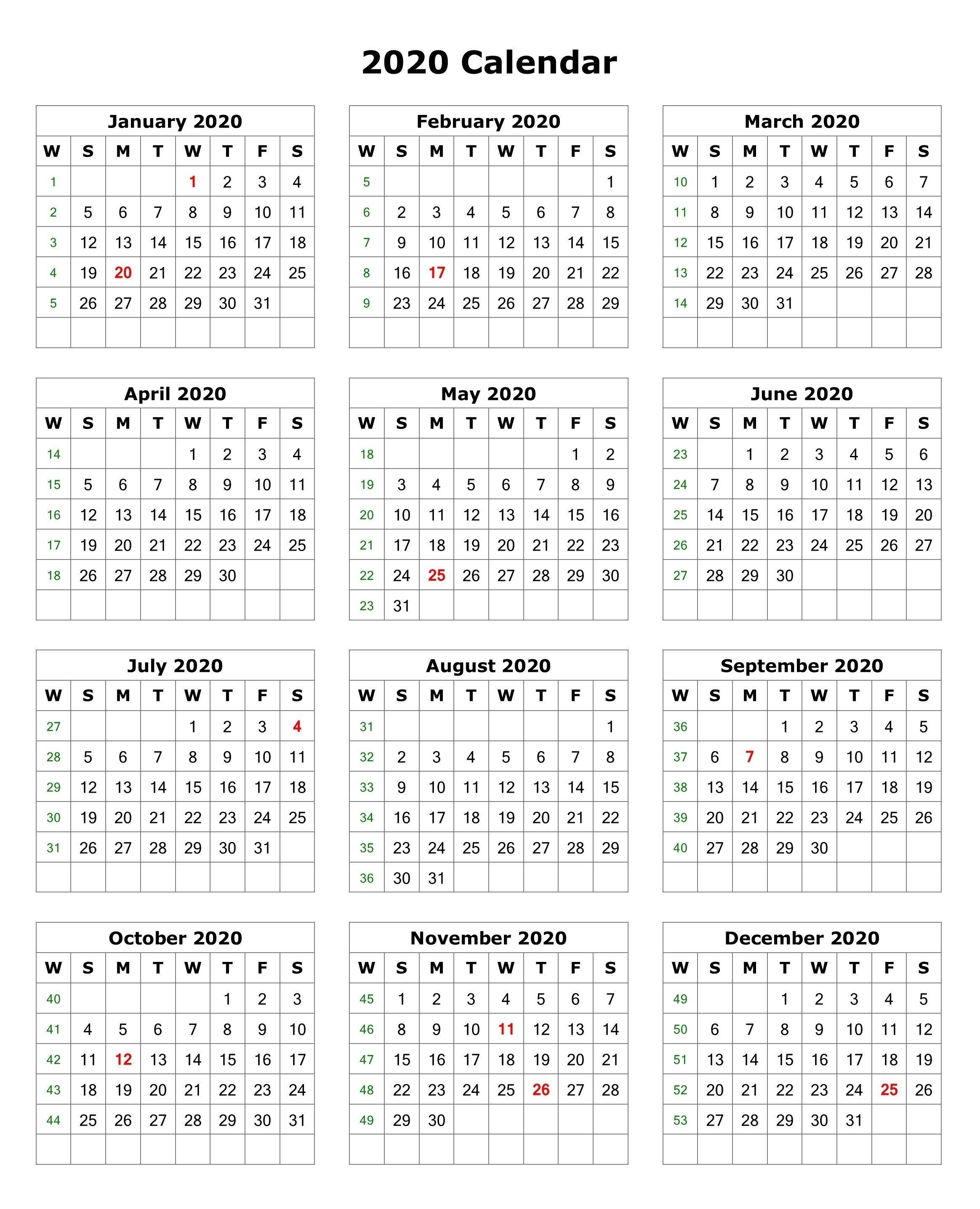 2020 One Page Portrait Calendar   Monthly Calendar Template