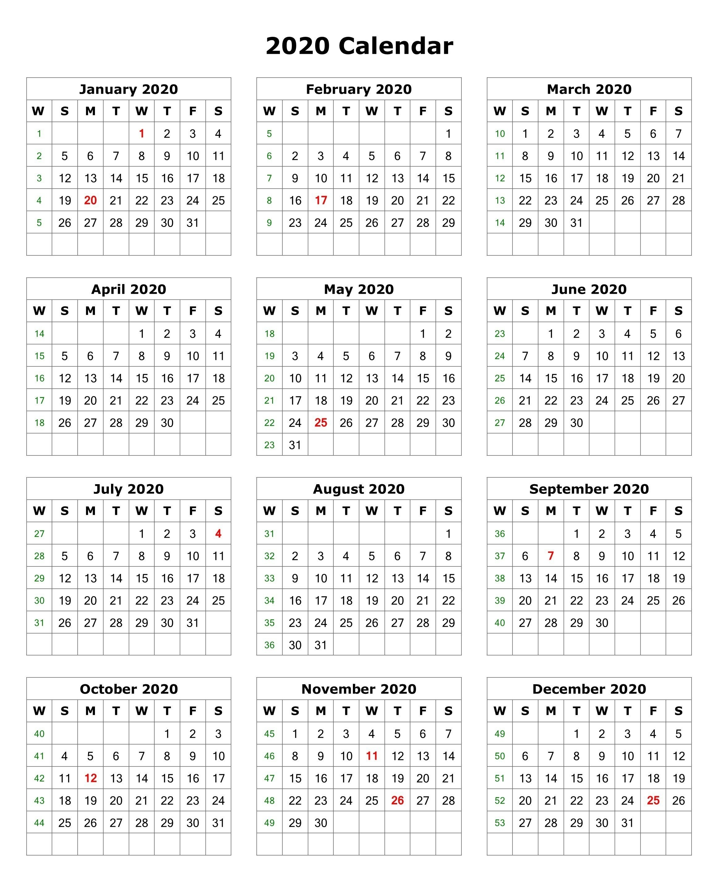 2020 One Page Portrait Calendar | Monthly Calendar Template