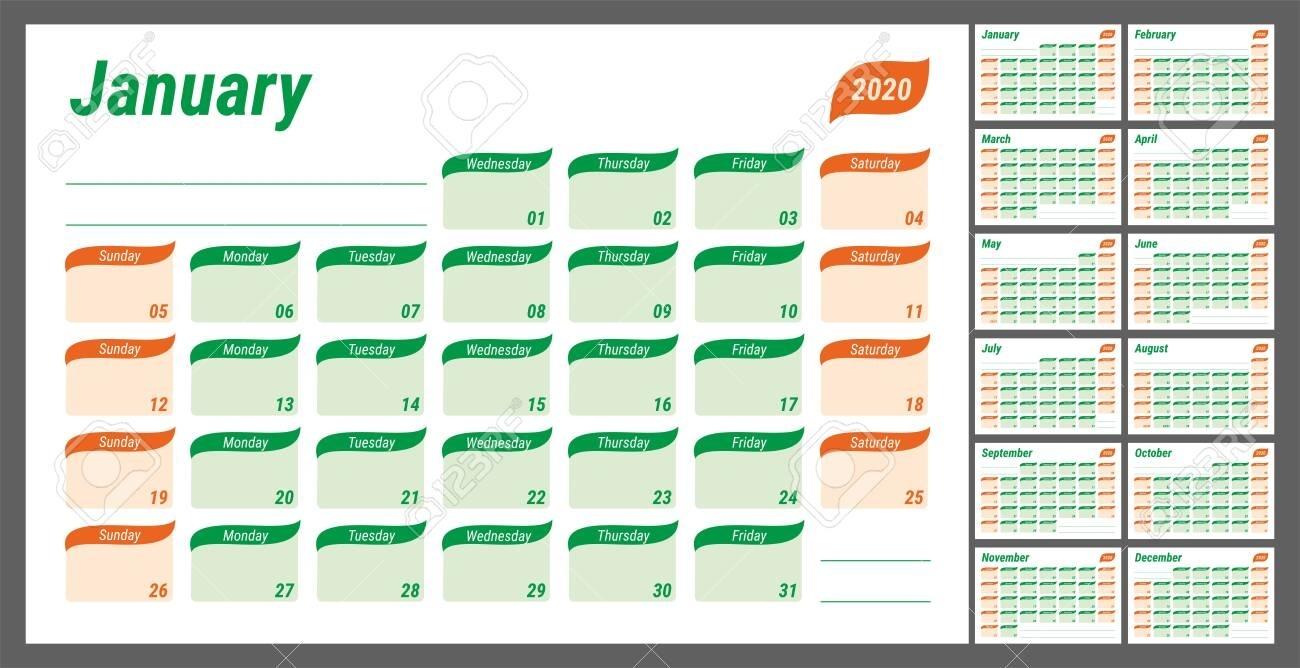 2020 Planner. English Calendar. Schedule Design, Journal, Day..