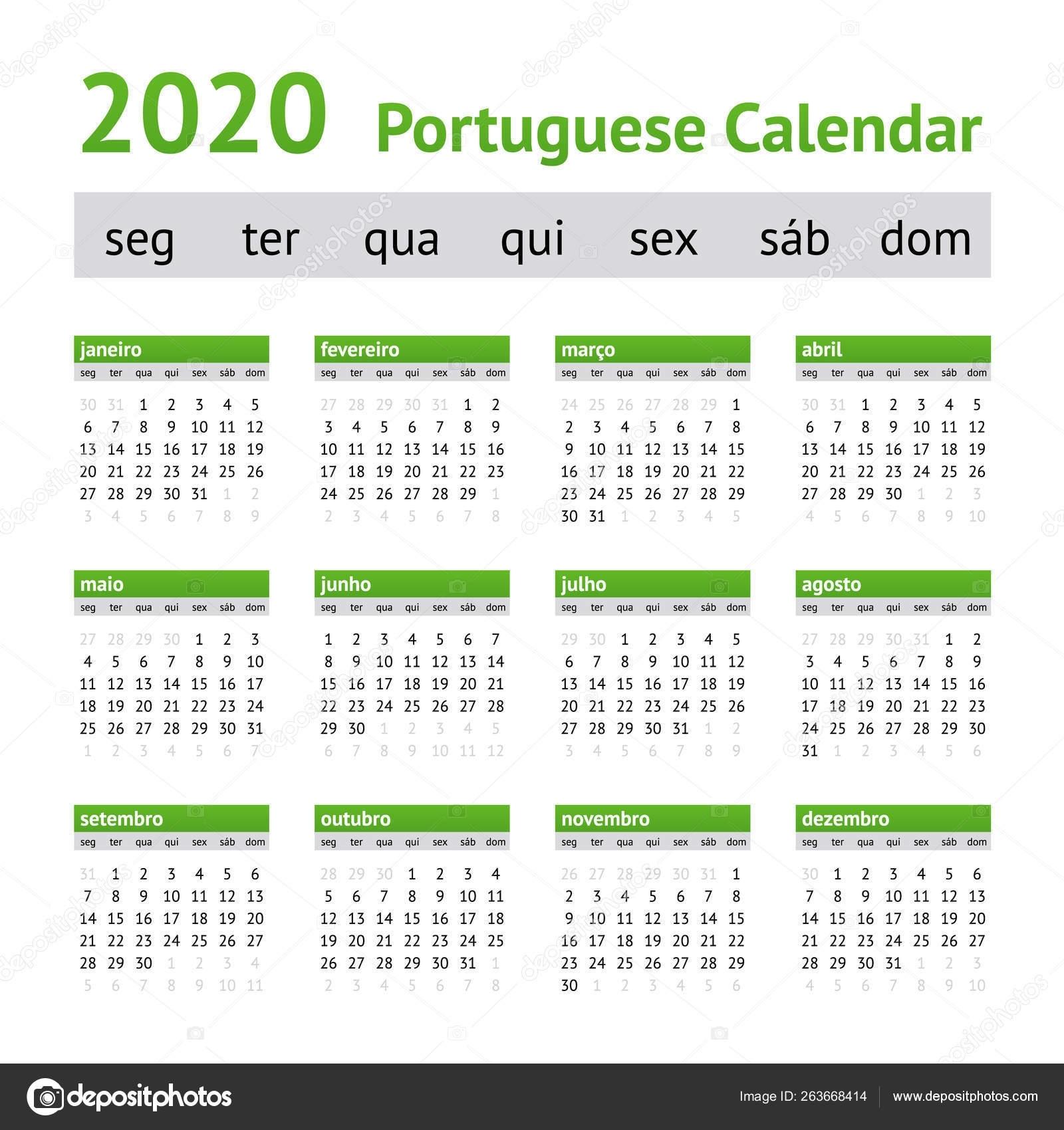 2020 Portuguese European Calendar — Stock Vector © New-Year