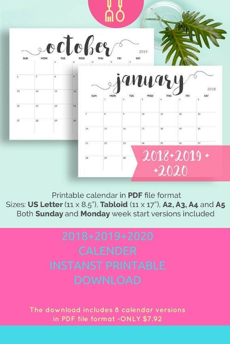 2020 Printable Calendar 2020-2021 Calendar Printable Large