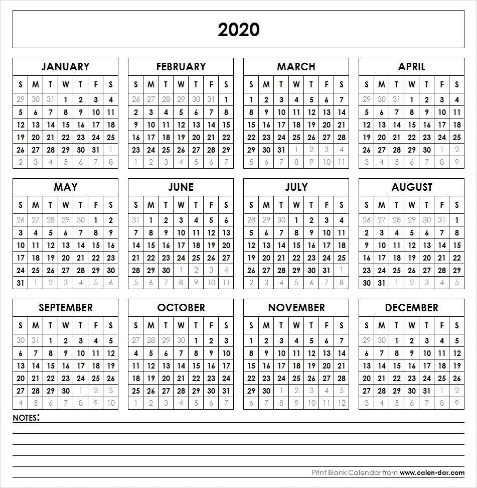 2020 Printable Calendar | Calendar 2019 Printable, Yearly