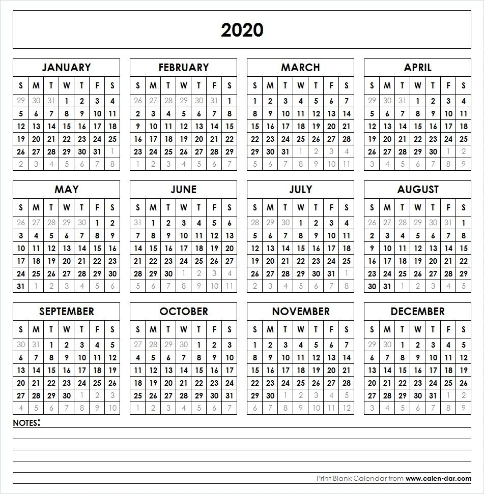 2020 Printable Calendar | Calendar 2019 Printable, Yearly