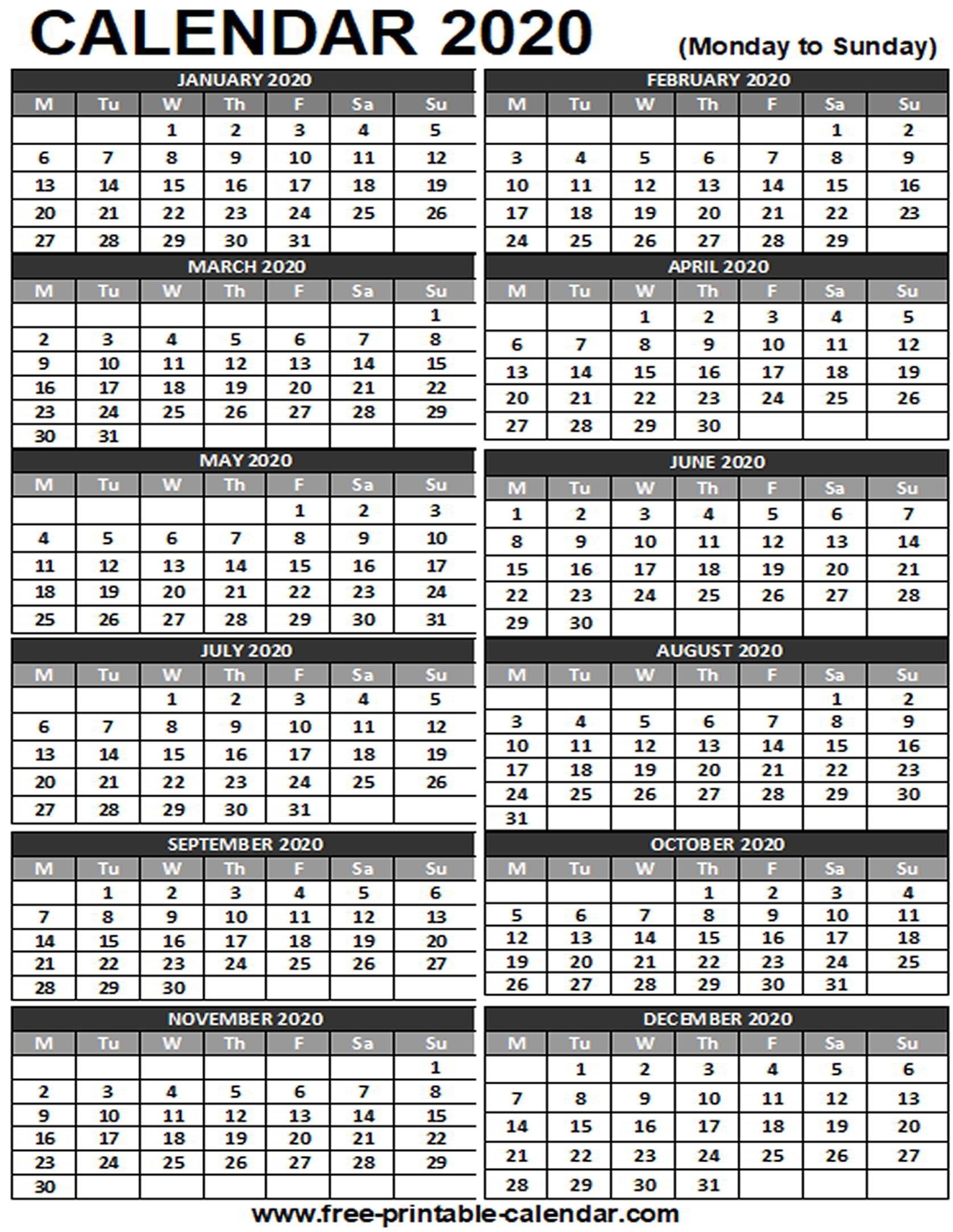 2020 Printable Calendar - Free-Printable-Calendar