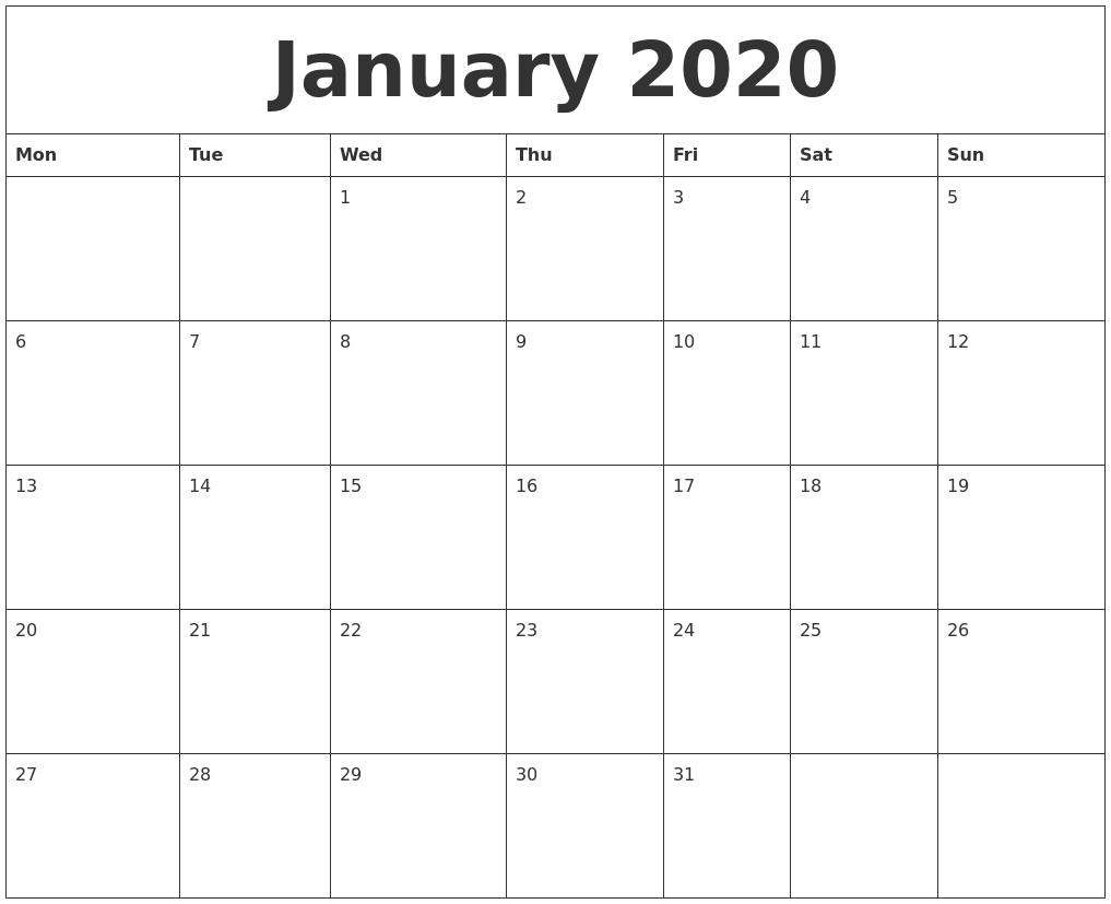2020 Printable Calendar January To December Wincalander