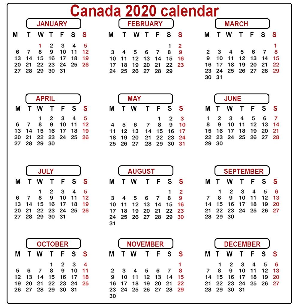 2020 Printable Calendar With Canadian Holidays - Cerno