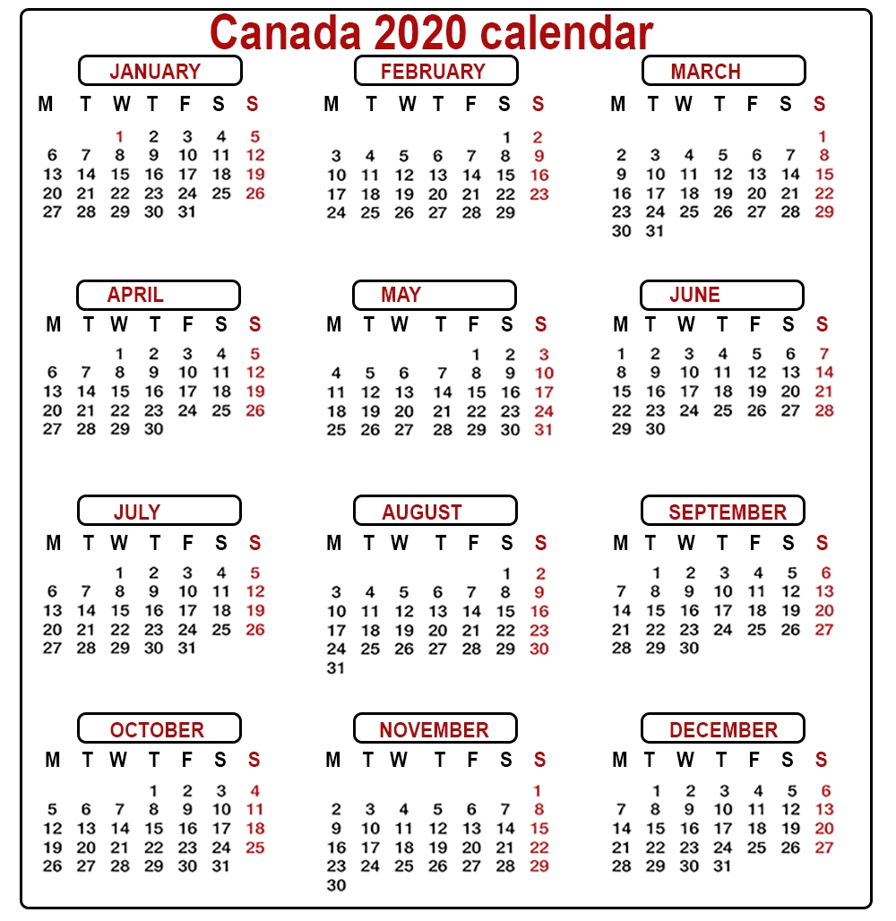 2020 Printable Calendar With Canadian Holidays - Cerno