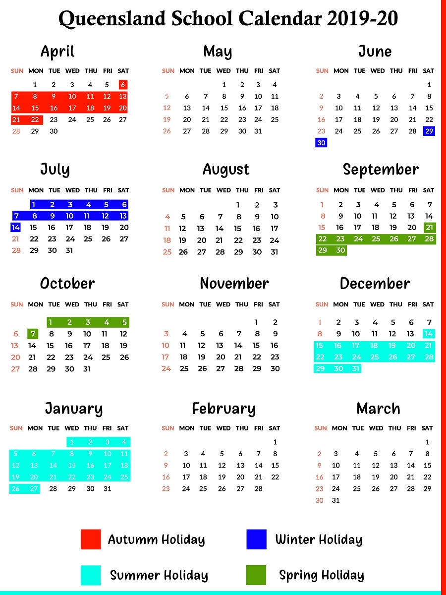2020 Qld School Holidays Printable | Example Calendar Printable