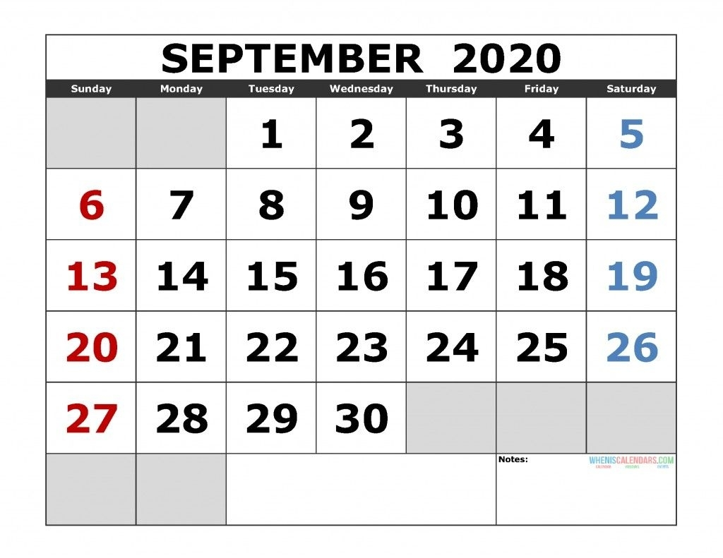 2020 Sept Calendar Printable – Delightful In Order To The