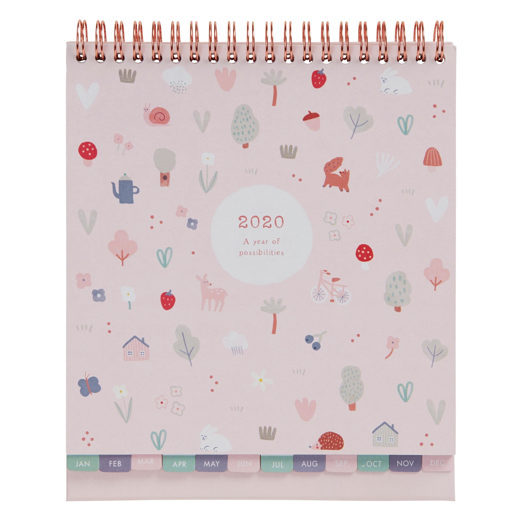 2020 Sweet Desk Calendar Pale Pink: Woodland