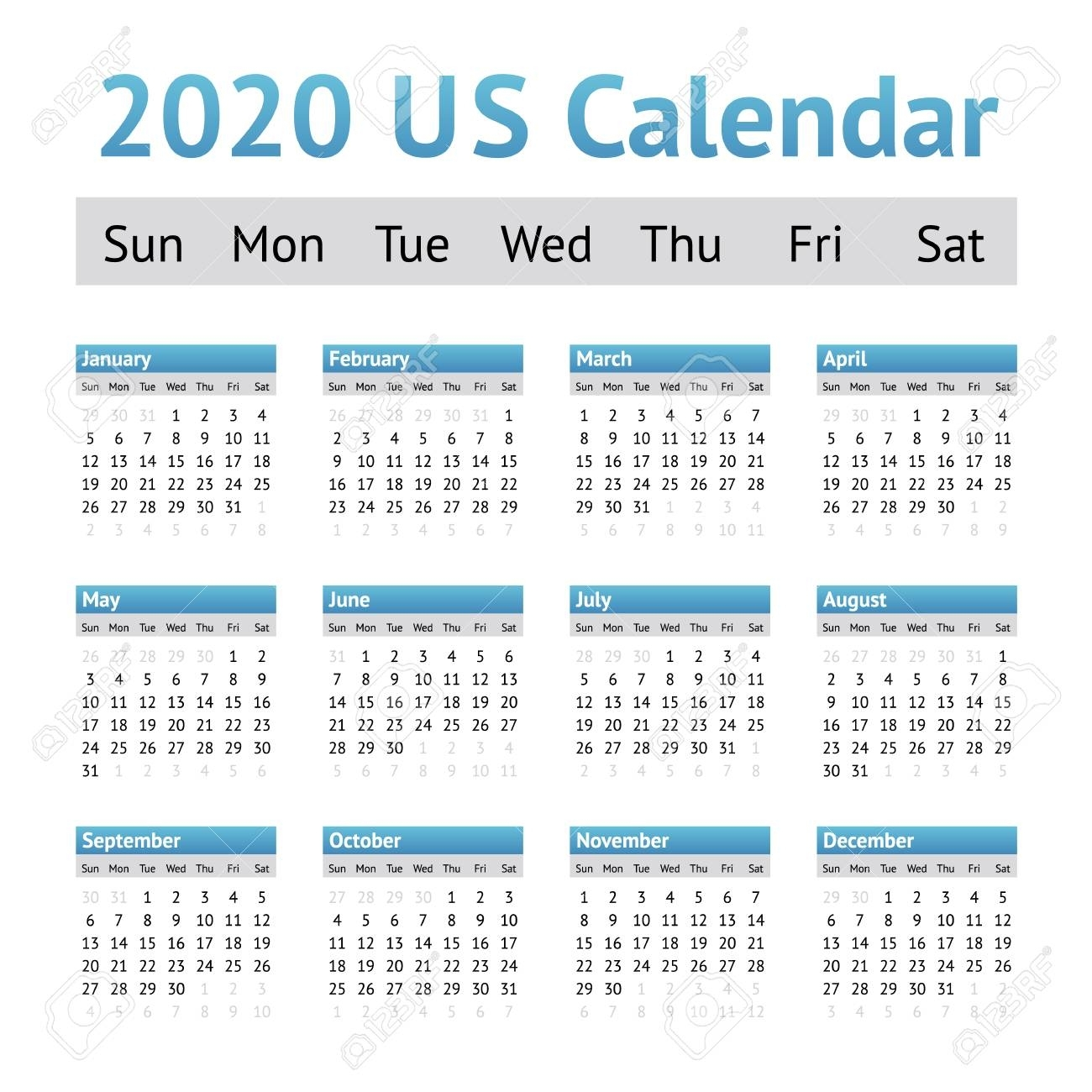 2020 Us American English Calendar. A Week Starts On Sunday