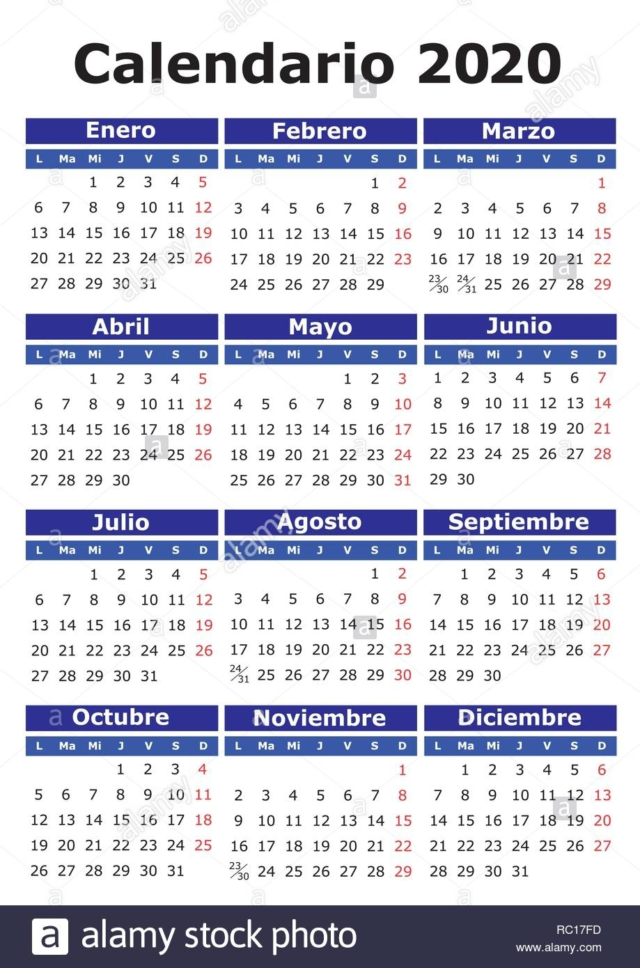 2020 Vector Calendar In Spanish. Easy For Edit And Apply