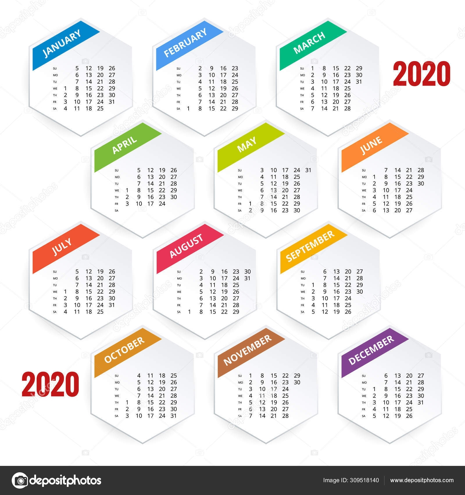 2020 Year Calendar. Holiday Event Planner. Week Starts