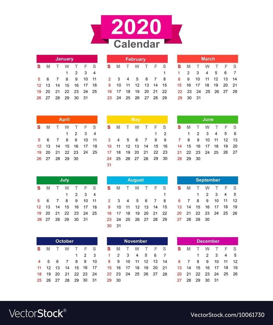 2020 Year Calendar Isolated On White Background