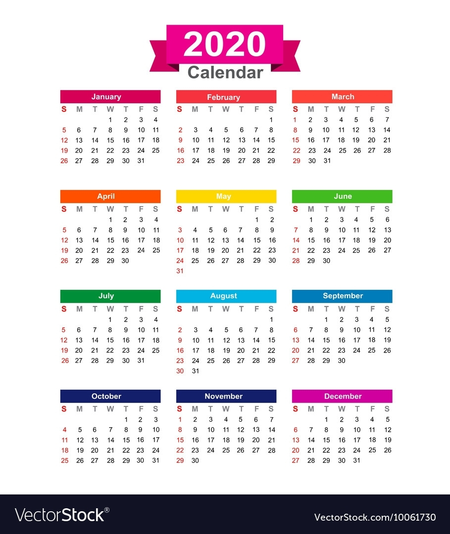 2020 Year Calendar Isolated On White Background