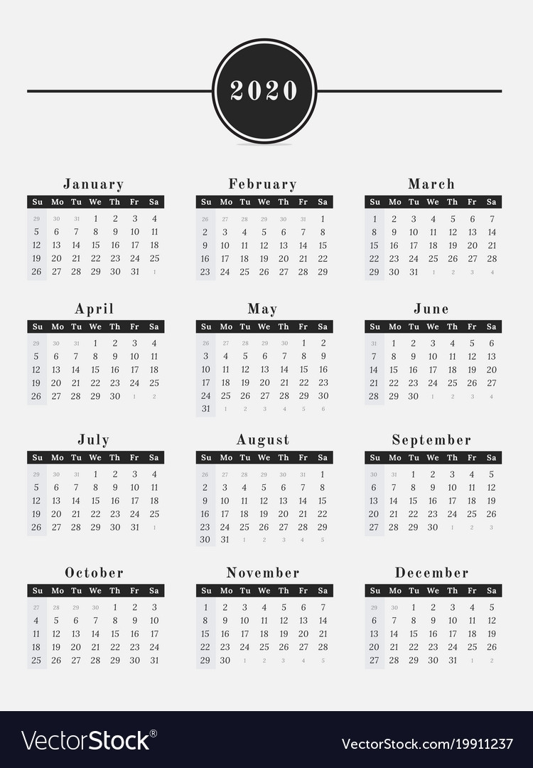 2020 Year Calendar Vertical Design