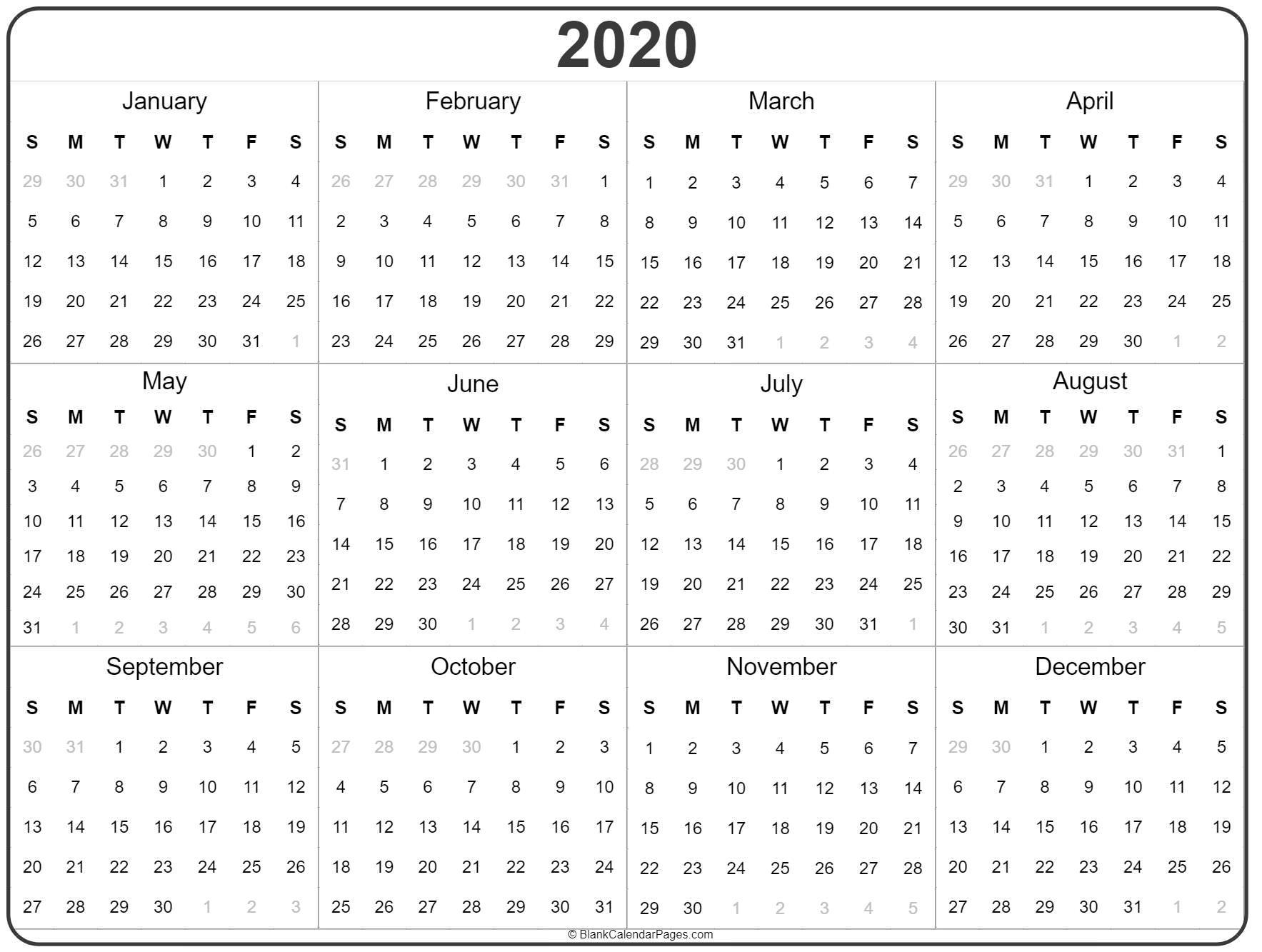 Year Calendar Printable 2020