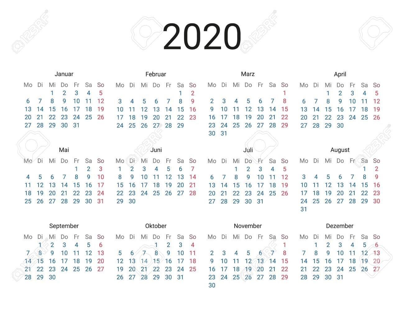 2020 Year German Calendar In German Language. Classical, Minimalistic,..