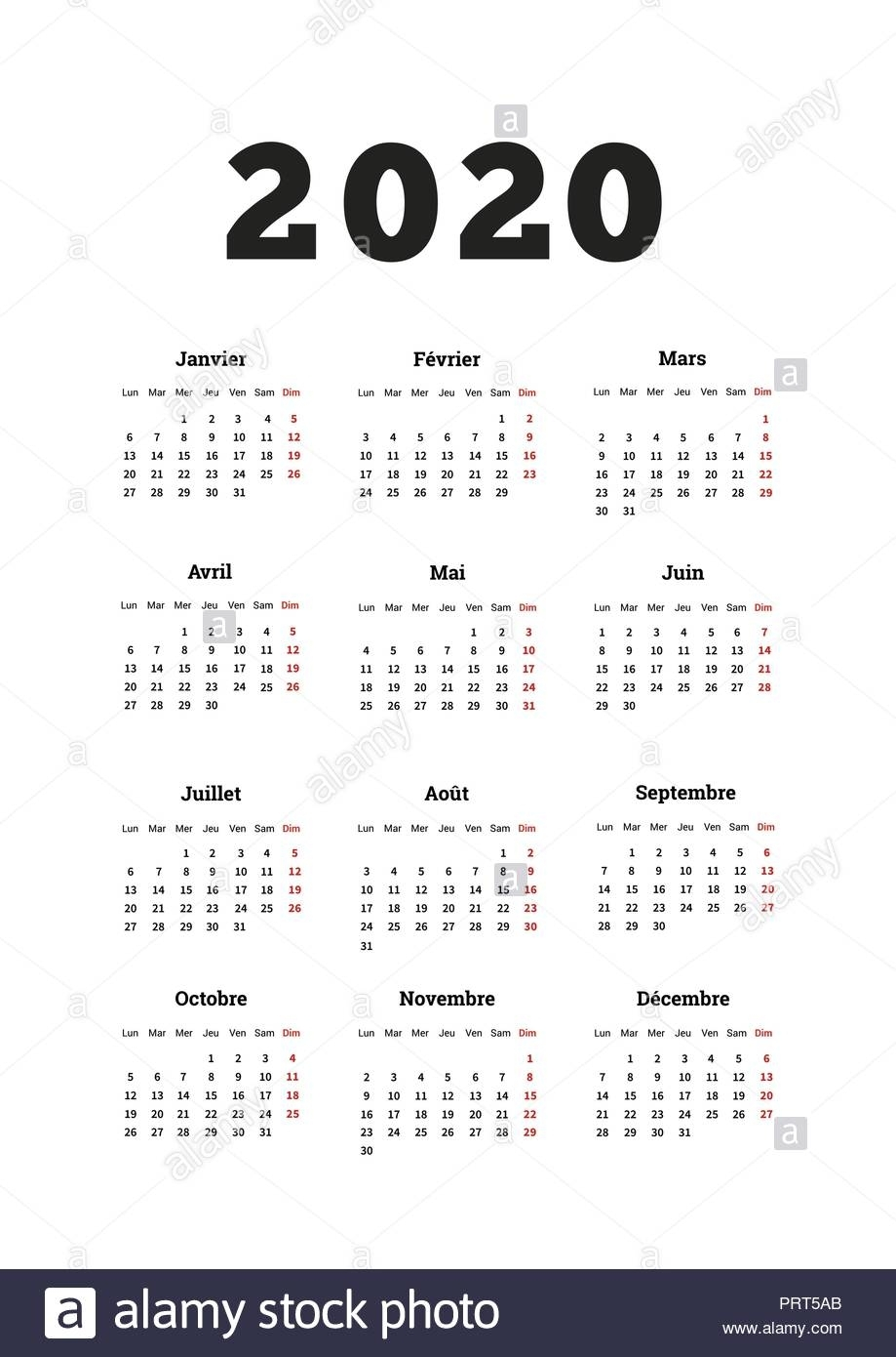 2020 Year Simple Calendar On French Language, A4 Size