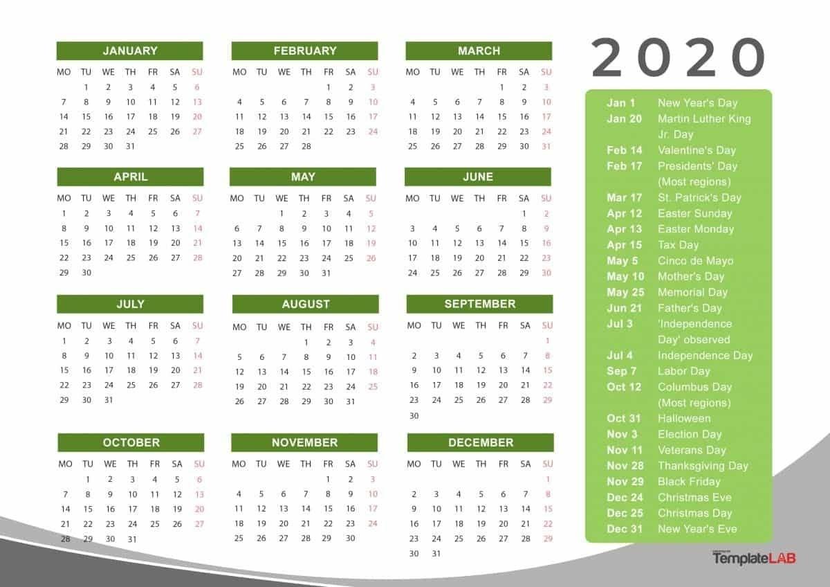 2020 Yearly Holidays Calendar   Printable Calendar Template