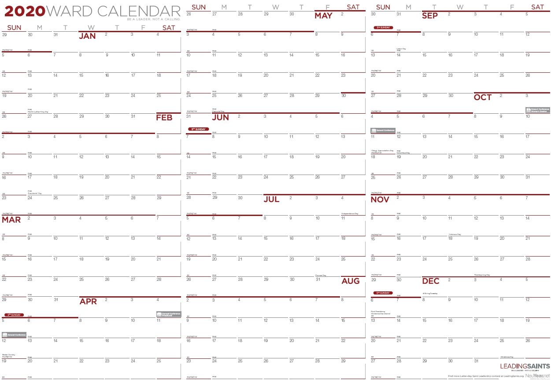 2020 Yearly Ward Calendar | Leading Saints