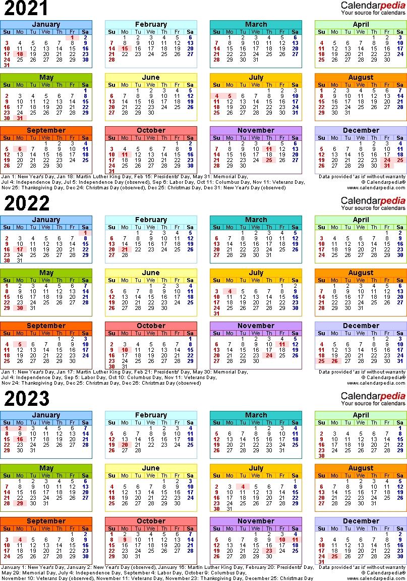 2021-2023 Three Year Calendar - Free Printable Word Templates