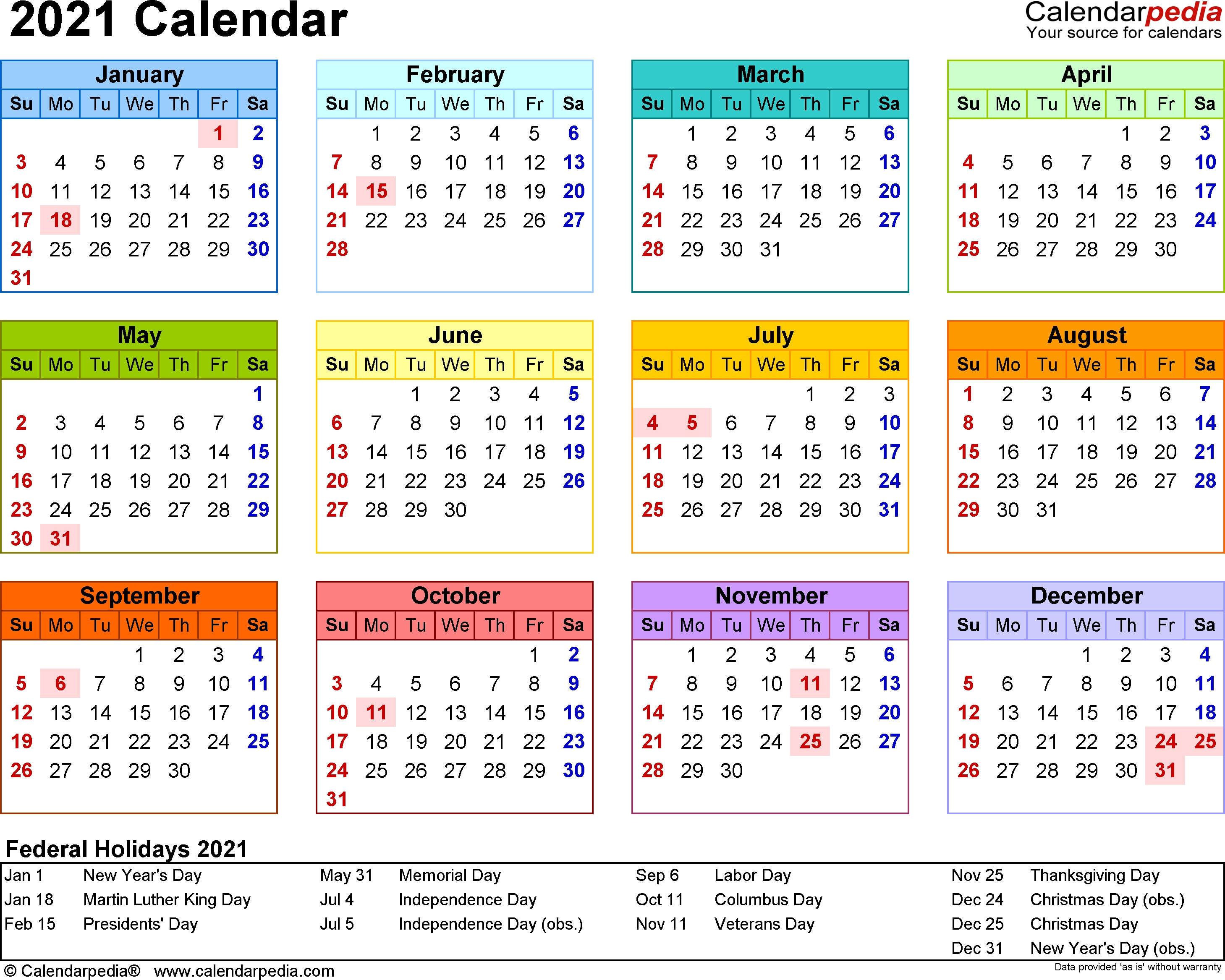 Year Calendar For 2021 | Month Calendar Printable