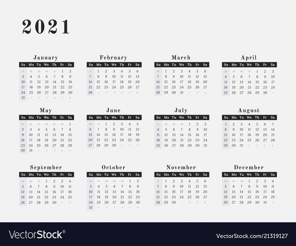 2021 Year Calendar Horizontal Design