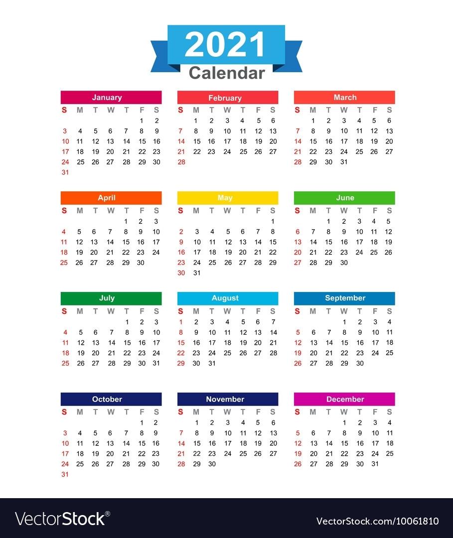 2021 Year Calendar Isolated On White Background